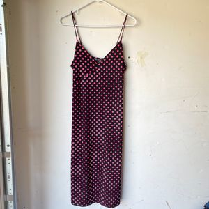 Zara midi dress v neck polka dot black pink nwt